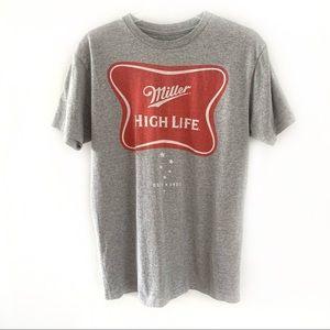 Miller High Life Classic Logo Grey T-shirt Sz M